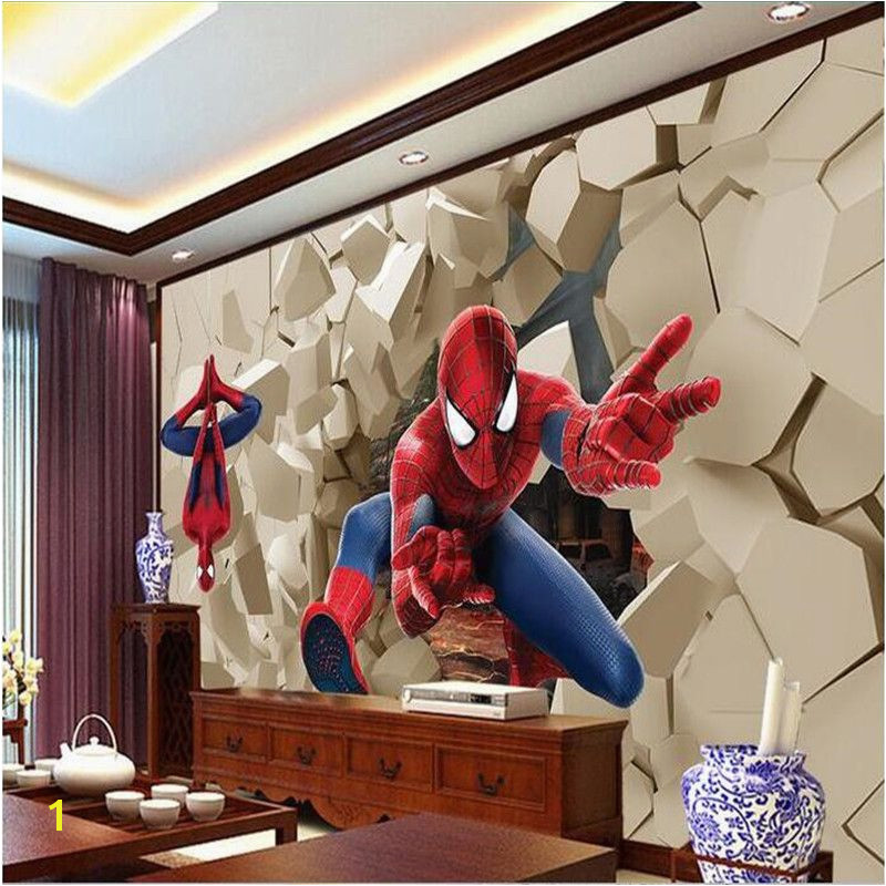 3d large wall wallpaper mural HD Hero Spiderman wall Poqiang visual impact backdrop custom silk photo wall paper