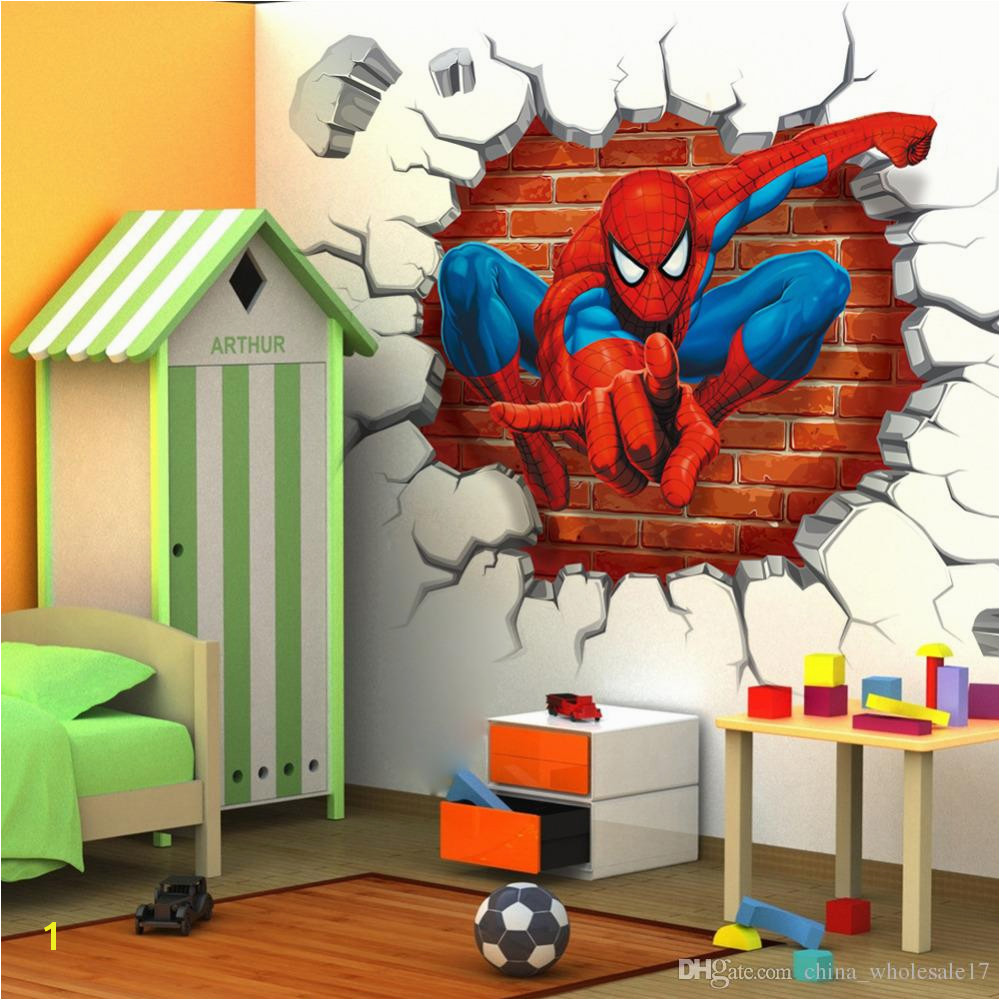 Spiderman Wall Murals 45 50cm 3d Spiderman Cartoon Movie Hreo Home Decal Wall Sticker for