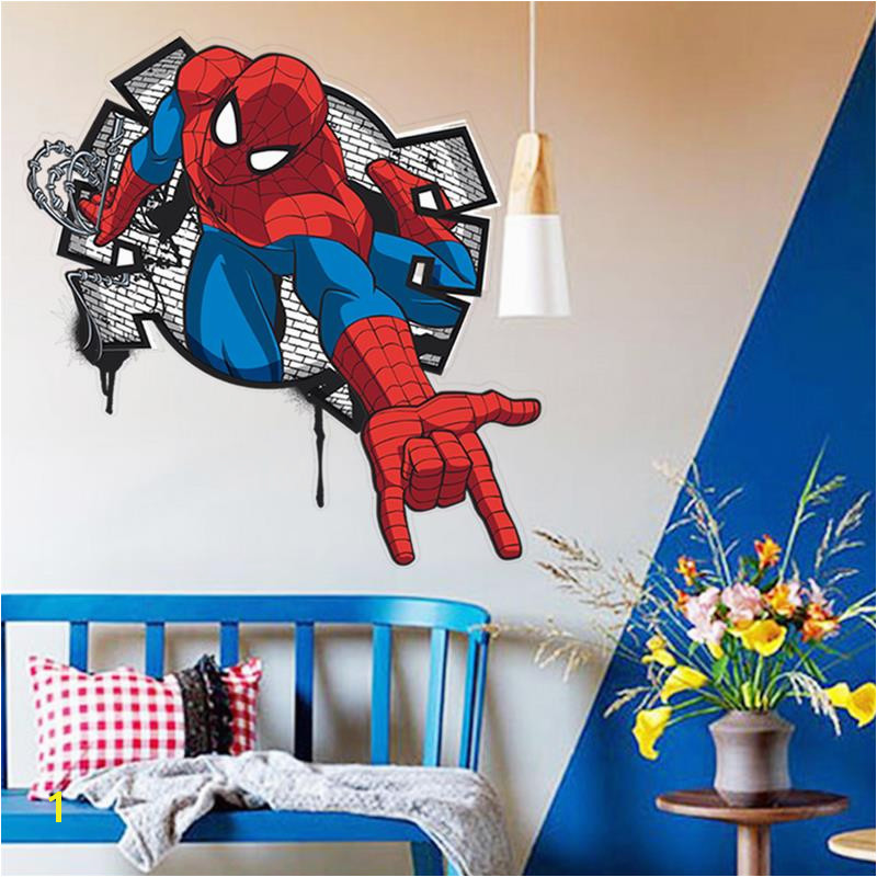 hot handsome Spiderman ing in kids rooms decal wall sticker home decor boys bedroom toy ts nursery cartoon movie poster in Wall Stickers from Home