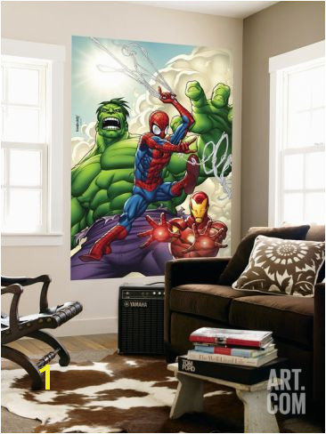 Marvel Adventures Super Heroes No 1 Cover Spider Man Iron Man and Hulk Wall Mural by Roger Cruz at Art