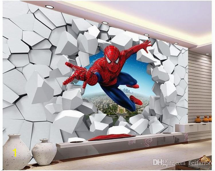 Murals 3 D Spiderman Batman Iron Man Personality Background Cartoon Wallpaper Wallpaper Murals Children Room Free Wallpaper 4 Desktop Free Wallpaper