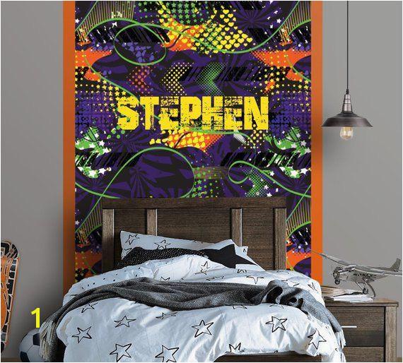 Graffiti Personalized Repositionable Wallpaper Peel and Stick Wallpaper Graffiti Mural Fabric Wallpaper Teen Room Decor