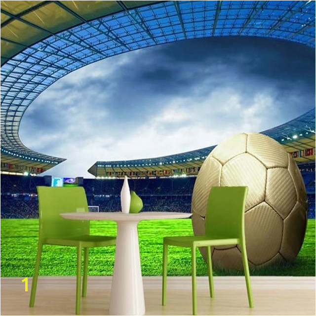 Custom 3D Soccer Wallpaper Sports Football Themed Stadium Mural Wallpaper For Living Room Bar Bedroom