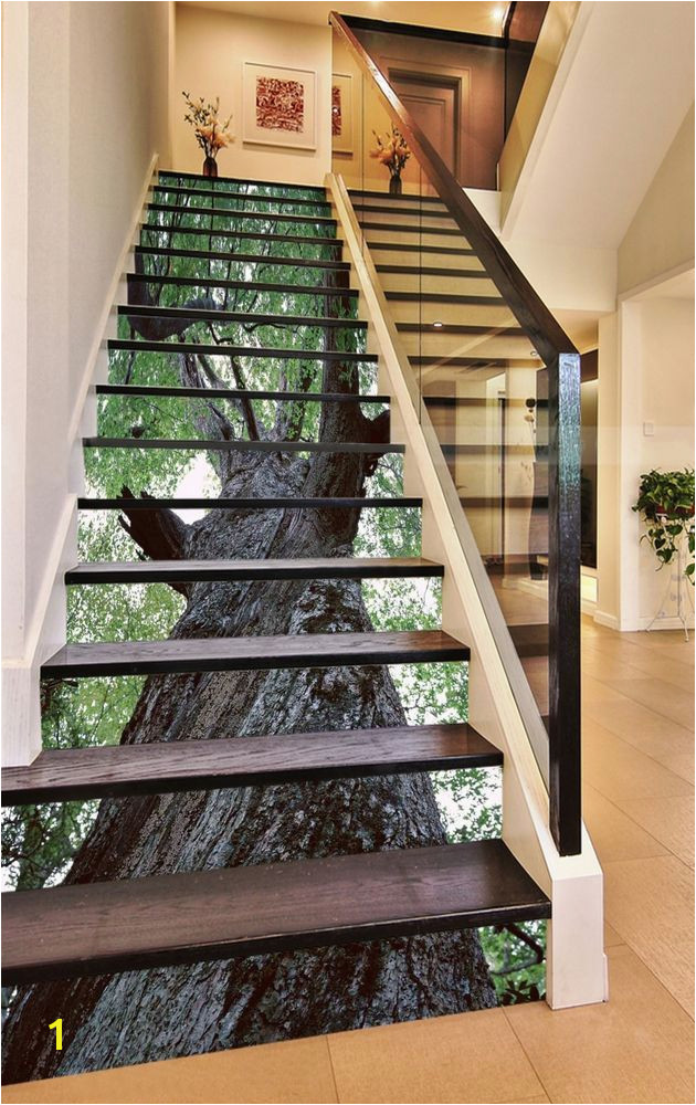 3D Green trees Stair Risers Decoration Mural Vinyl Decal Wallpaper AU Home & Garden Home Décor Decals Stickers & Vinyl Art