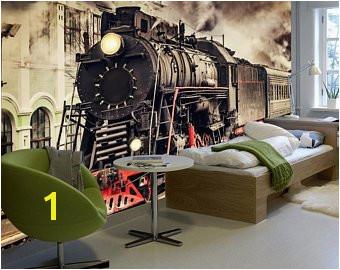 Vintage Wallpaper Train Wagon Wall Mural Retro Railway Wall Print Nostalgic Home Decor Cafe Design Living Room