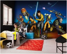 """The courageous Rebels from the starship Ghost fight against evil forces mural Komar """"Star Wars Rebels Run"""""""