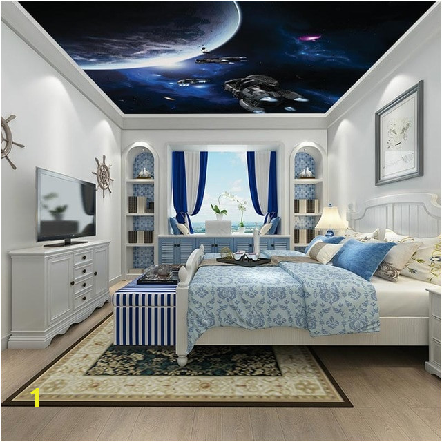 Modern Ceiling Wall Papers 3d Star Sky Wallpaper Living Room Bedroom Thicken Self Adhesive Vinyl Silk Fabric Wallpaper