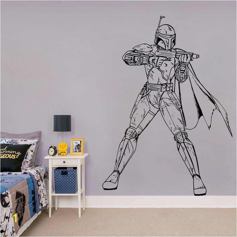 Star Wars Wallpaper Murals Boba Fett Wall Decal Star Wars Vinyl Sticker Bedroom Decal