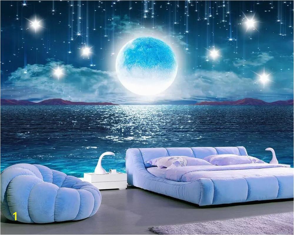 beibehang Water Moonlight Beautiful Night Starry Sky TV Background Wallpaper Living Room Bedroom Home Decor murals 3d wallpaper in Wallpapers from Home