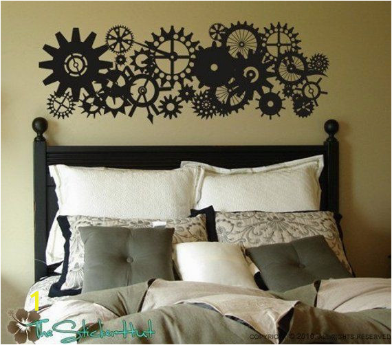 Blades Gears Clock Parts Steam Punk Style Vinyl Lettering Removeable Home Decor Bedroom Vi