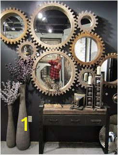 cogwheel mirrors from Mercana … Wall Decor With Mirrors Decorative Wall Mirrors Wall Mirror