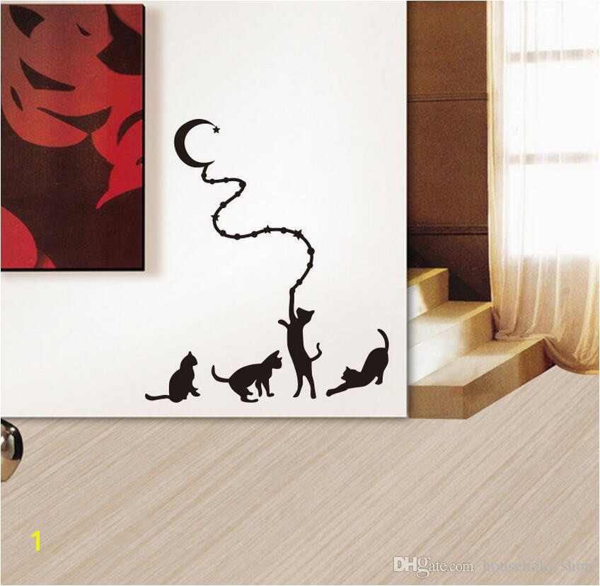Cat Moon Wall Sticker Mural Decals Cartoon Animal Stickers for Kid Children Rooms Home Decor Hot