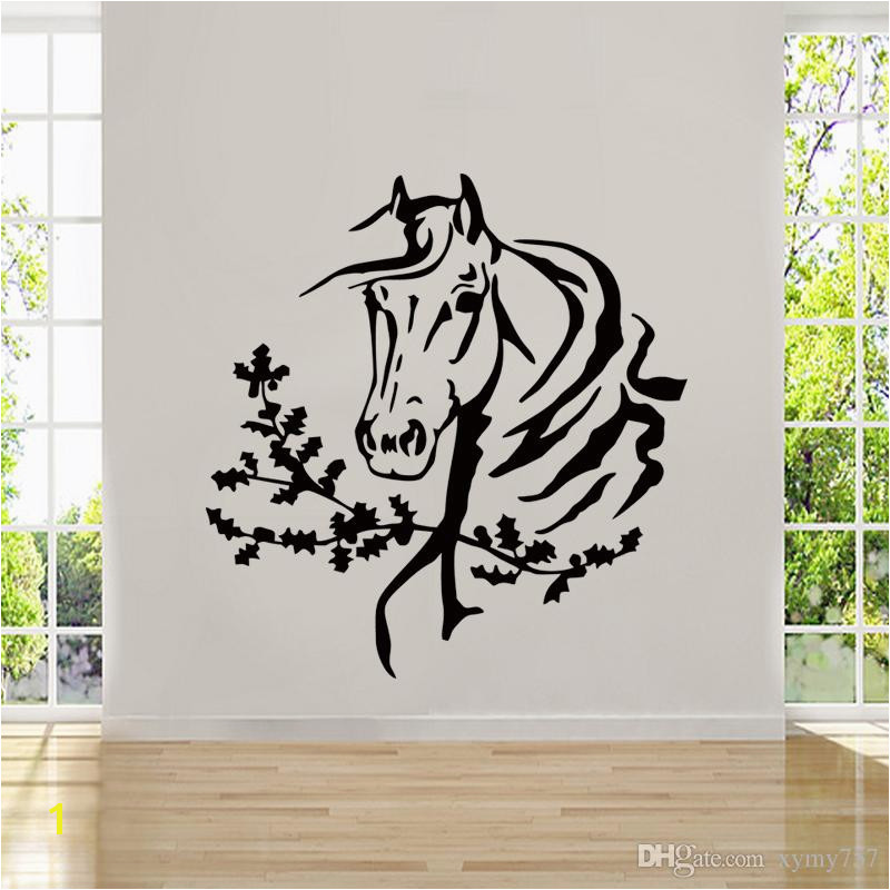 2017 Hot Sale Personality Art Wall Room Decor Art Vinyl Sticker Mural Decal Horse Head Mustang Big DIY Quotes Wall Stickers Removable Decals From