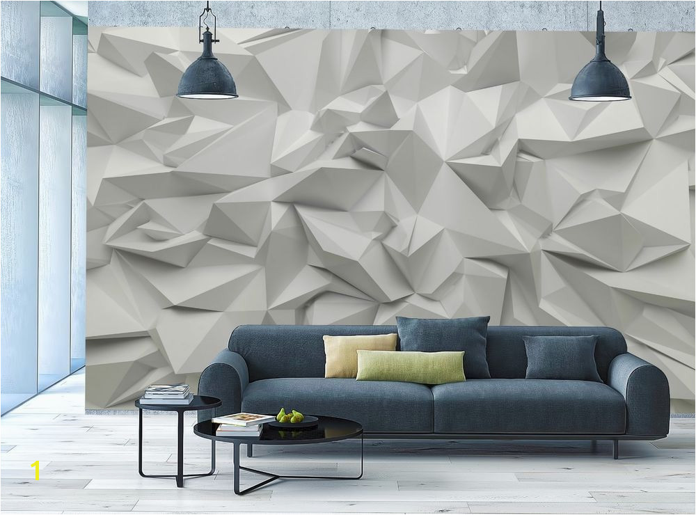 3D Wallpaper MURAL Abstract Room Art White Stone Triangle Look WALL DECOR Poster Unbranded