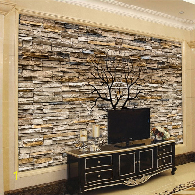 Custom Wallpaper 3D Stone Wall Trunk Wallpaper Living Room Sofa TV Background Wall Murals Wallpaper
