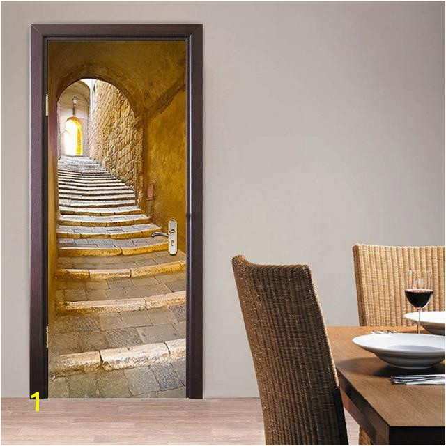 2Pcs set Stone Steps Door Stickers European Style Wall Sticker Poster