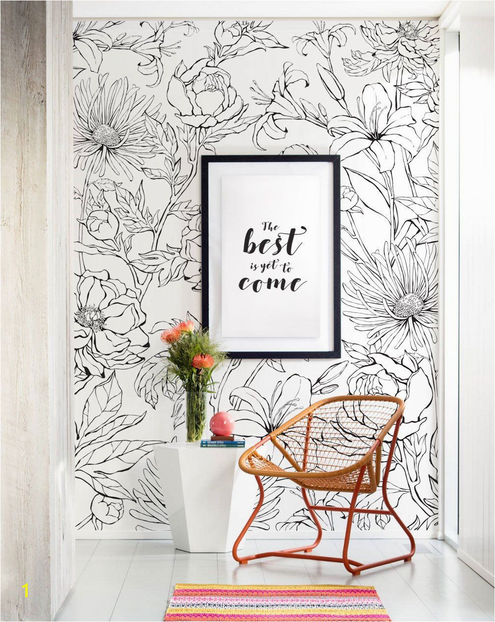 Botanical Garden Hand Drawn Flowers Mural Wall Art Wallpaper Peel and Stick