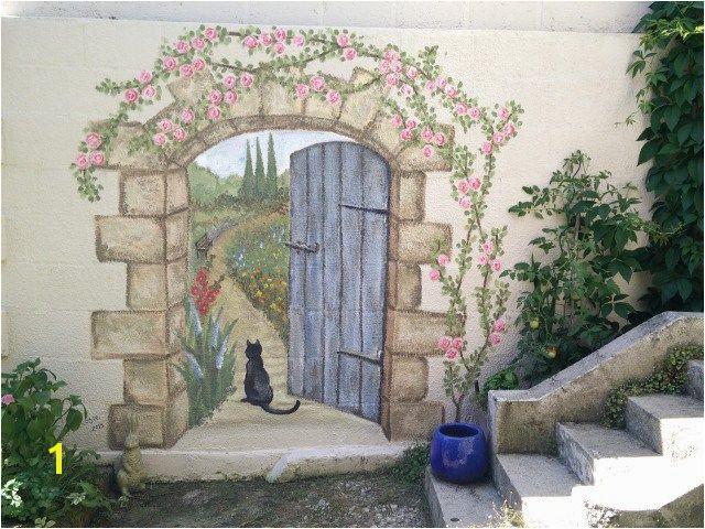 Stone Mural Designs Secret Garden Mural Painted Fences Pinterest
