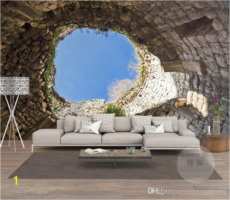 Stone Mural Designs the Hole Wall Mural Wallpaper 3 D Sitting Room the Bedroom Tv