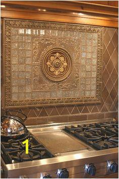 Glass and Stone Mural Backsplash Tile