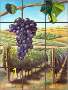 Wine Grapes Mural Tile Mural