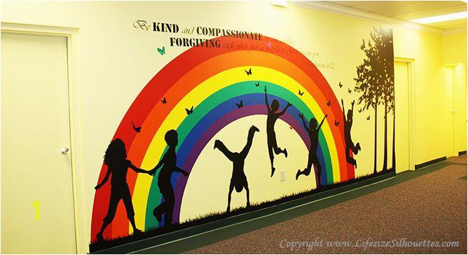 Sunday School Wall Murals Children S area Decor Children Playing Wall Silhouette Vinyl Decals