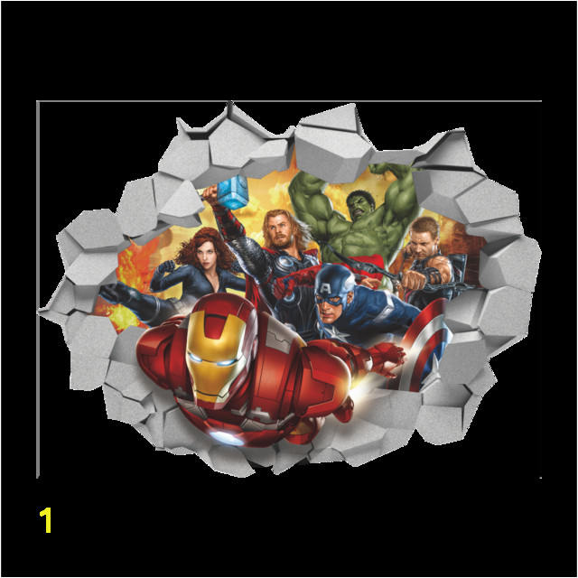 3D Broken Wall Decor The Avengers Wall Stickers for Kids Rooms Home Decor DIY Cartoon Movie Poster Mural Wallpaper Wall Decals