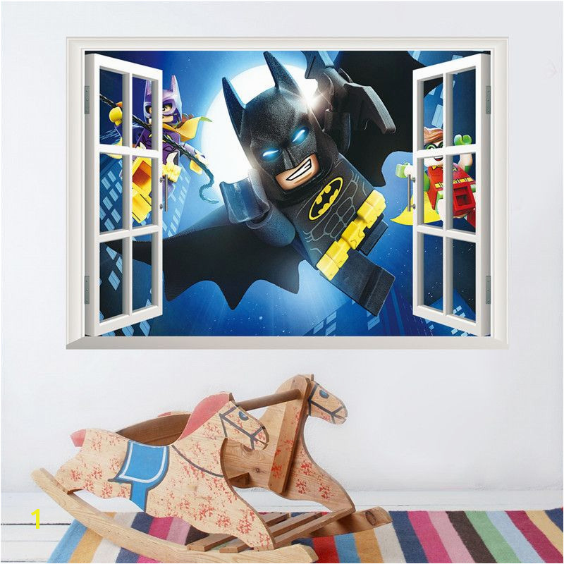 Cartoon Batman Wall Sticker For Kids Rooms 3D Window Wall Decal Boy s Room Decor Boy Birthday