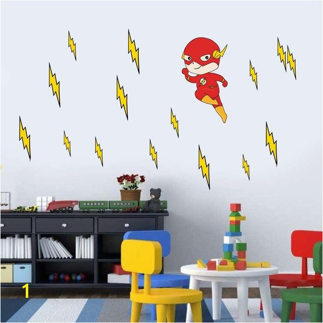 Cartoon Flash Superhero Wall Art For Kid Nursery Bedroom Vinyl Sticker For Living Room Removable Wallpaper Wall Decal Home Decor