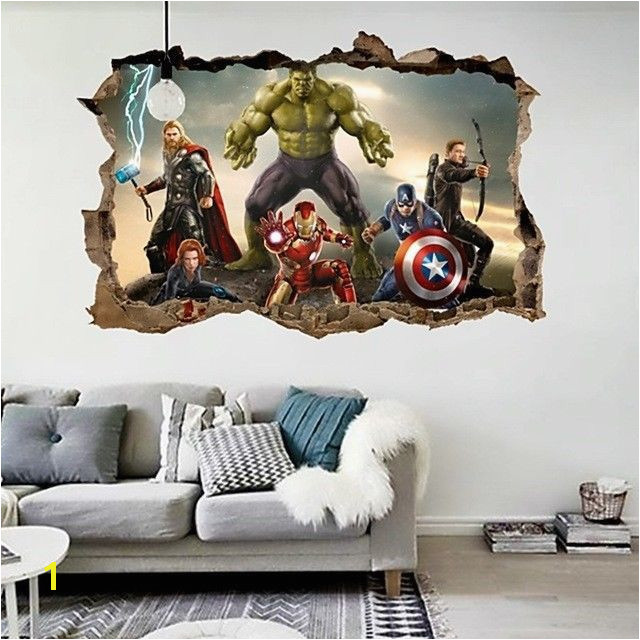 Cartoon Avengers Wall Sticker 3D Decals Wallpaper Mural Art Poster For Kids Room Unbranded