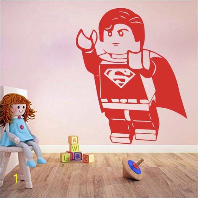 Superman Wall Murals Cartoon Lego Superman Wall Sticker Boy Room Kids Room Lego Superhero