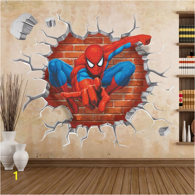Superman Wall Murals Cartoon Superman Spiderman Wall Stickers for Kids Rooms 3d Sticker