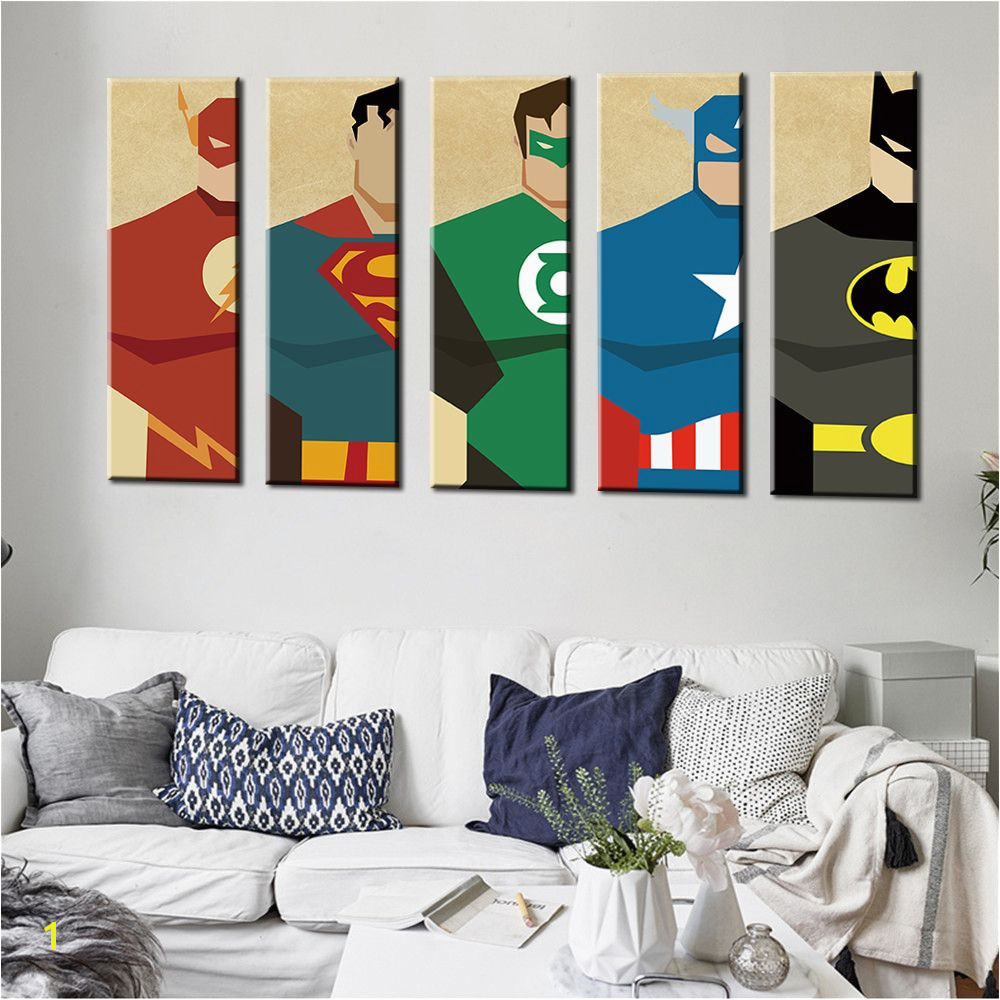 Oil Painting Frameless Watercolor Art Prints Poster Hipster Wall Picture Canvas Painting Cartoon Superman Kids Room Home Decor