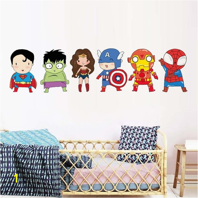 Superhero Wall Stickers Kids Boy Bedroom Decor Batman Superman Vinyl Art Wall Decals For Kids Room Cartoon Superheros Wallpaper