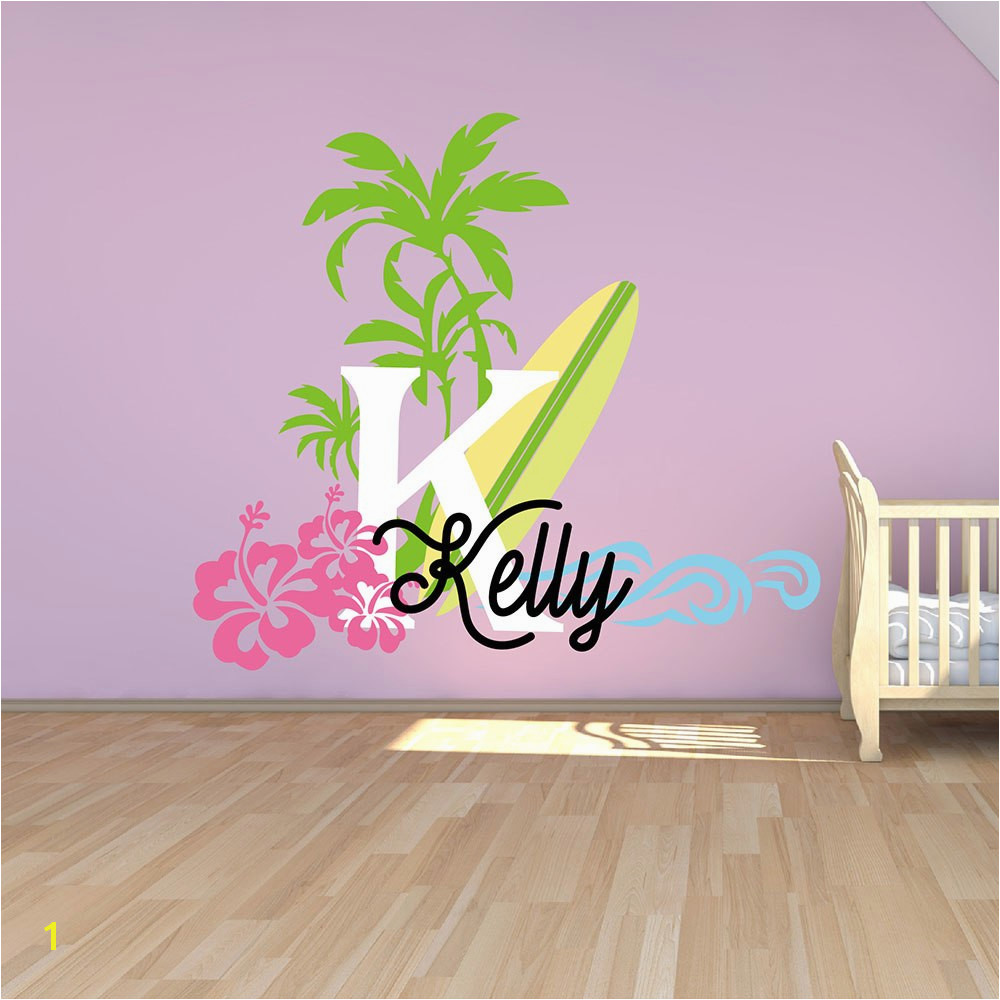 Surfboard with Name Wall Decal Baby Palm Tree Vinyl Wall Decals Nautical Nursery Wall Stickers Summer Holiday Name Stickers 623C in Wall Stickers from Home