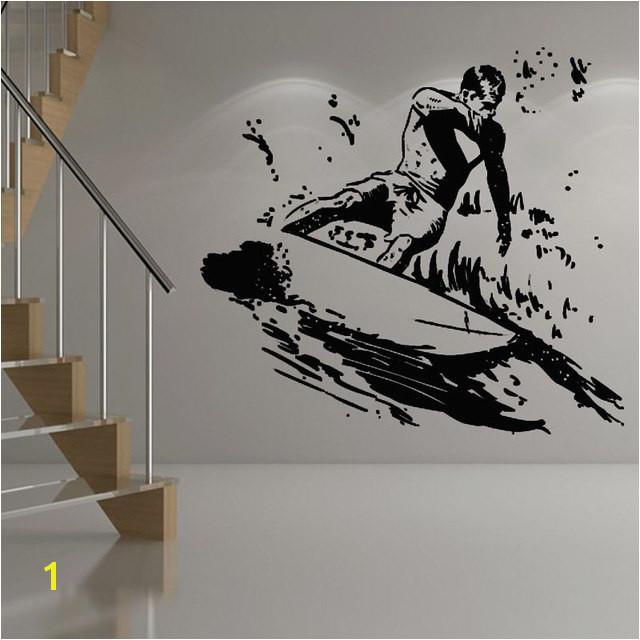Surfer Surfboard Sport Wall Sticker Vinyl Decals Kids Nursery Room Surfing Wall Art Mural Home Decoration Decor Sticker for Kids