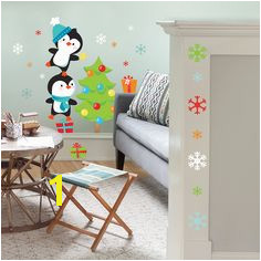 Jumbo Stacking Penguins Christmas Wall Decals This bright