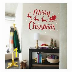 Merry Christmas with Santa s Sleigh Wall Decals on tar