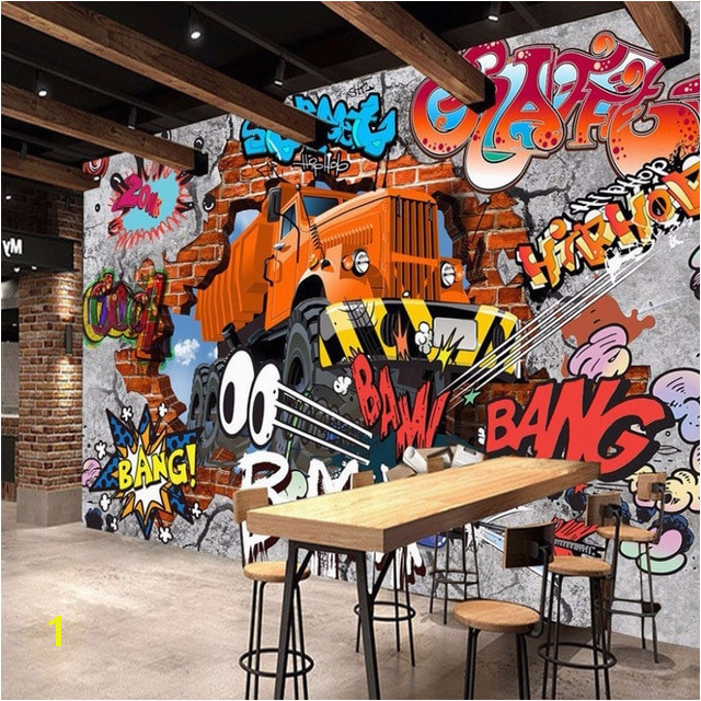 3D Broken Brick Wall Graffiti Cartoon Cars Mural For Restaurant Boys Bedroom Wall Decor Non woven Customize Size 3D Wallpaper