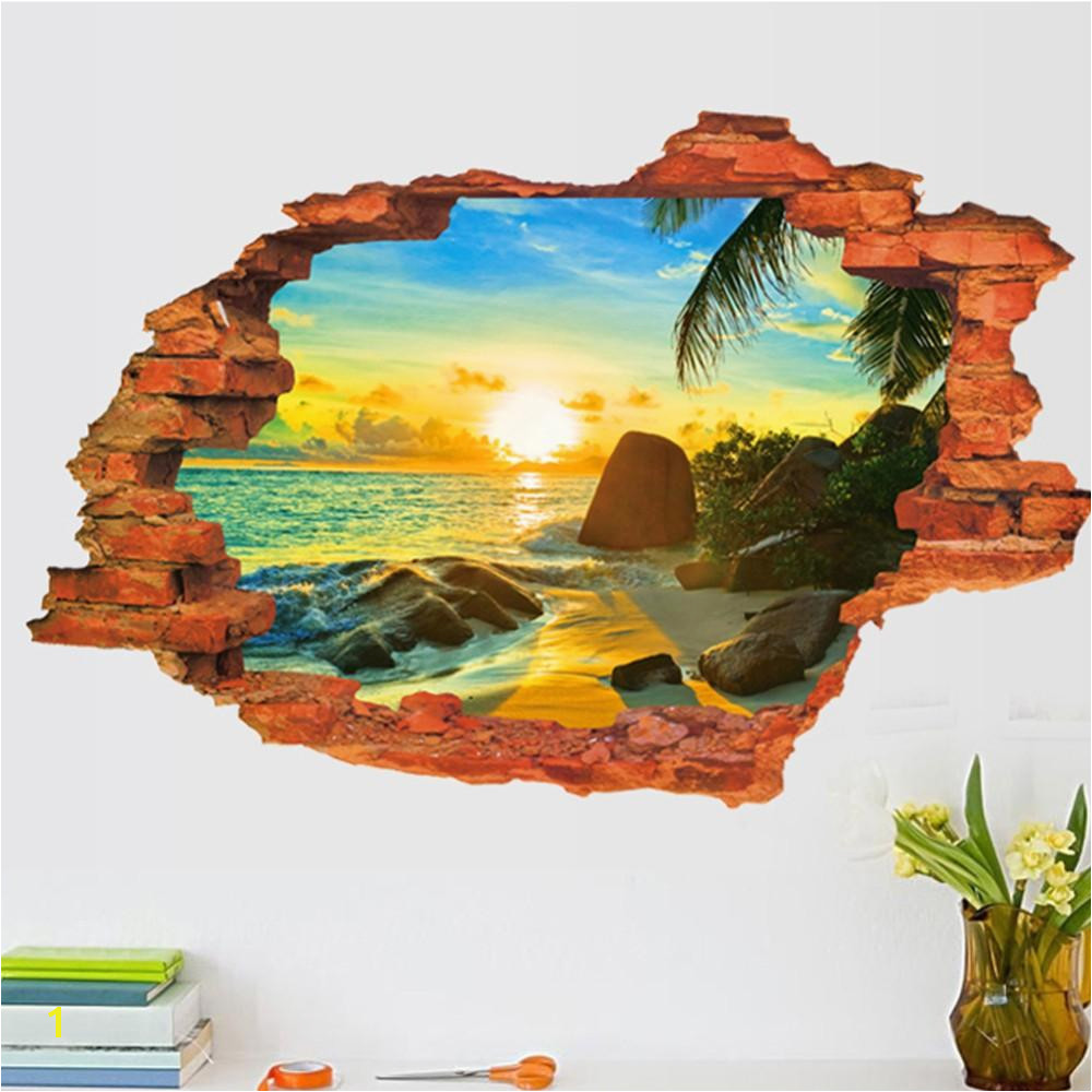 3D Broken Wall Decal Sunset Scenery Seascape Island Coconut Trees Household Adornment Can Remove The Wall Stickers Wall Sticker Decor Wall Sticker