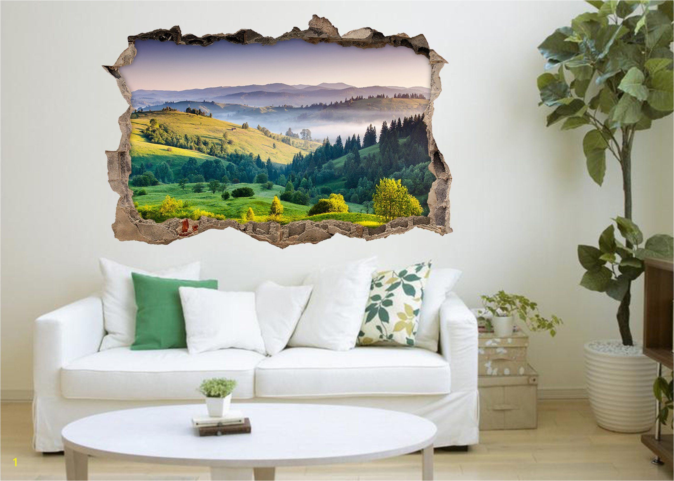 3D Mountains Landscape 112 Broken Wall Murals