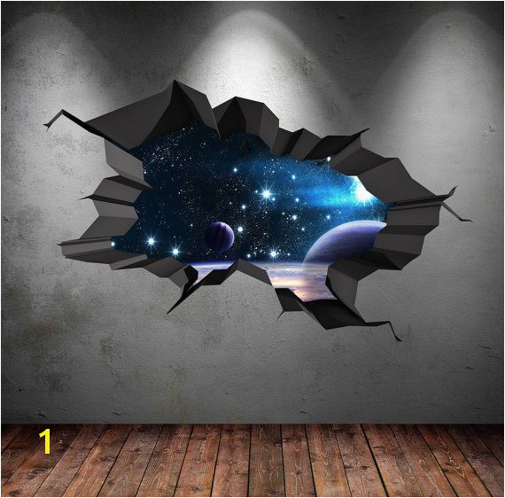 3D Space Wall Decal Cracked Hole Space Galaxy Stars Full Colour Wall Art Sticker Boy Bedroom Decal Mural WSD75