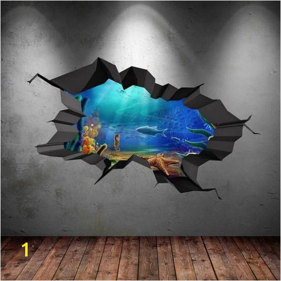 Fish Aquarium Sea Wall Decal Cracked Hole Full Colour Wall Art Sticker Mural Transfer Tropical Fish