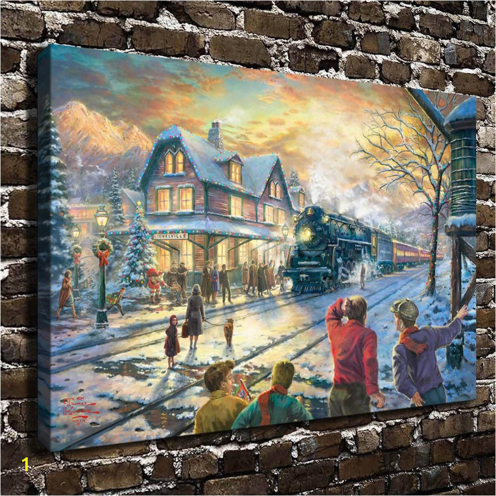 2019 Thomas Kinkade All Aboard For Christmas Canvas Prints Wall Art Oil Painting Home Decor Unframed Framed From Wumami $5 98