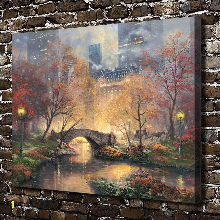 2019 Thomas Kinkade Central Park In He Fall Canvas Prints Wall Art Oil Painting Home DecorUnframed Framed From Q $5 98