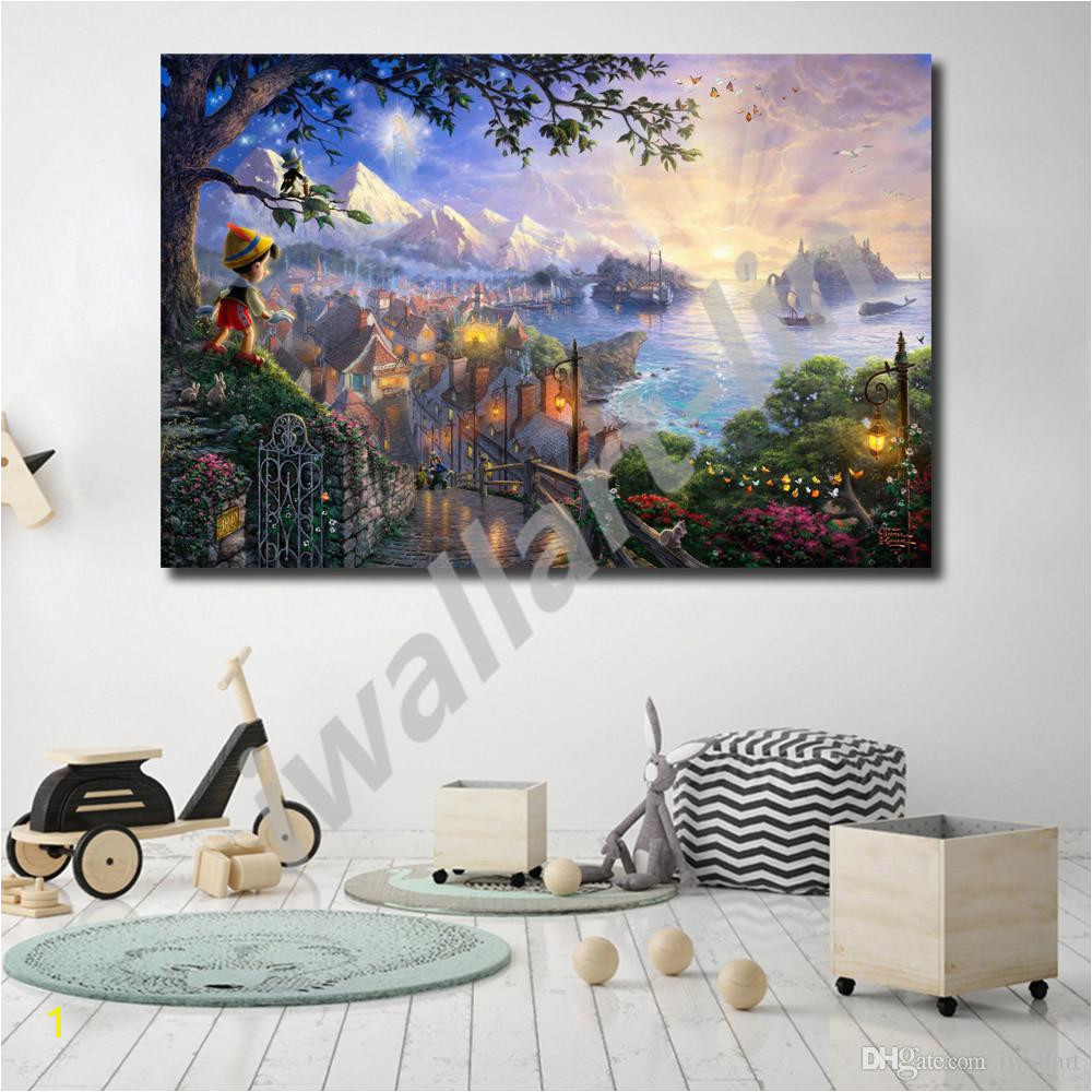 Thomas Kinkade Puppet Adventures Wishes Upon A Star HD Canvas Painting Print Living Room Home Decor Modern Wall Art Oil Painting Poster Canada 2019 From
