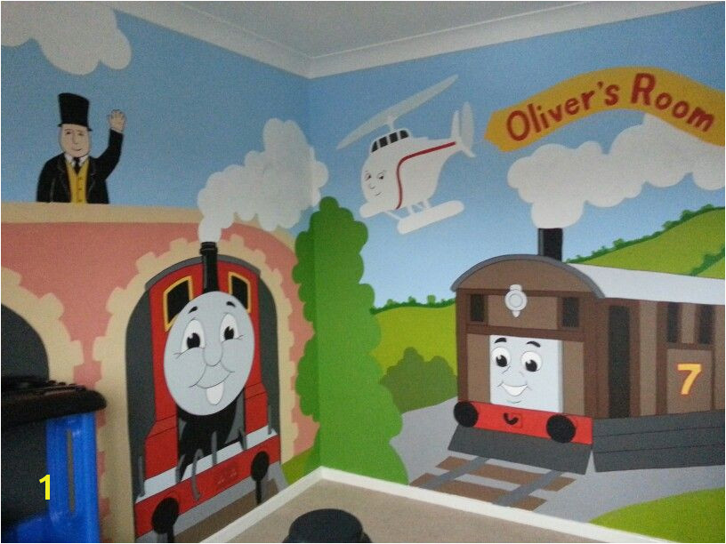 Overstock All Aboard with this gigantic Thomas the Tank Engine and his friends XL wall mural This fun wall mural is perfect…