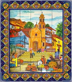 Colonial talavera tile mural for a kitchen backsplash tabletop or wall from Mexico Tile