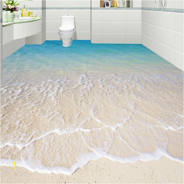 Custom Self adhesive Floor Mural Wallpaper Modern Beach Seawater 3D Floor Tiles Sticker Bathroom Kitchen Papel De Parede 3D Sala