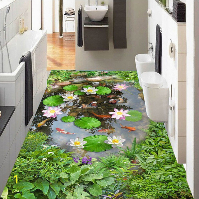 Wallpaper 3D Lotus Pond Floor Tiles Murals Living Room Bathroom PVC Self Adhesive Waterproof Wall Paper Sticker Home Decor